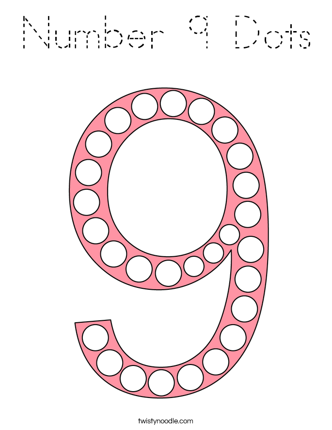 Number 9 Dots Coloring Page