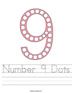 Number 9 Dots Handwriting Sheet