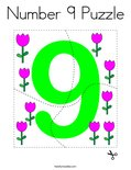 Number 9 Puzzle Coloring Page