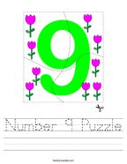 Number 9 Puzzle Handwriting Sheet
