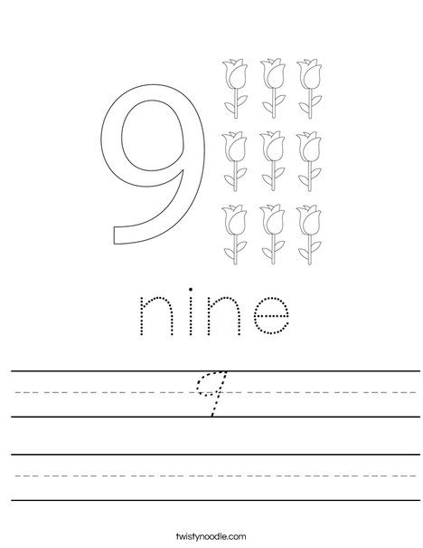 Number 9 Worksheet