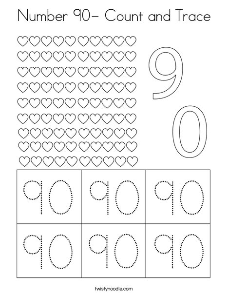 Number 90- Count and Trace Coloring Page