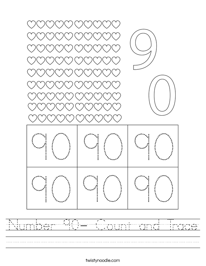 Number 90- Count and Trace Worksheet