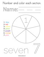 Number and color each section Coloring Page