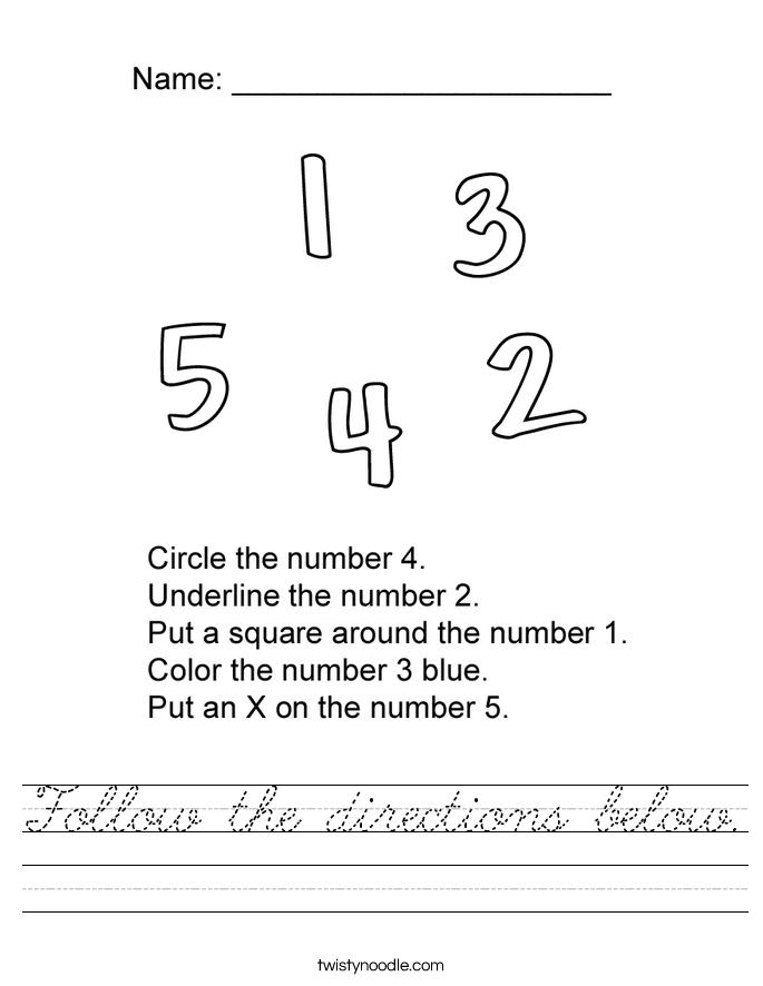 Follow the directions below. Worksheet