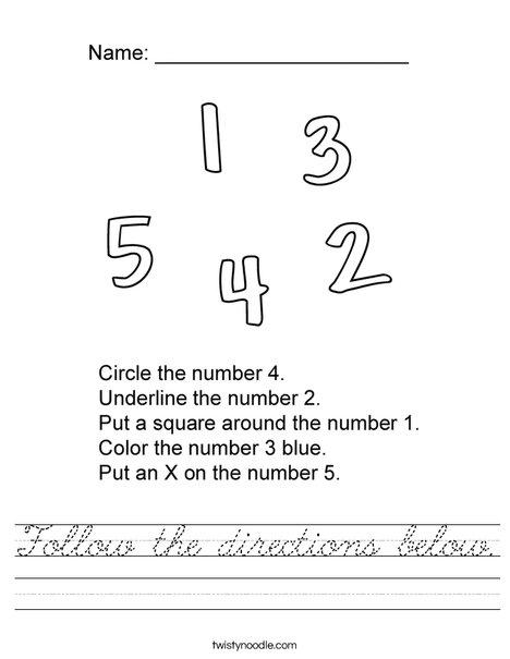 Number Directions Worksheet