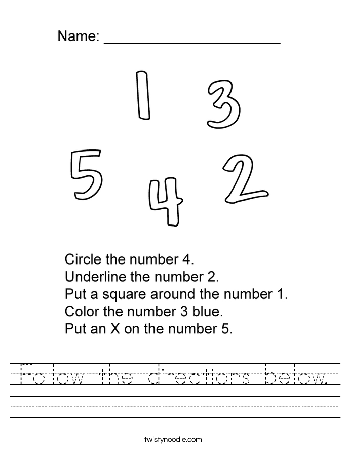 Follow the directions below. Worksheet