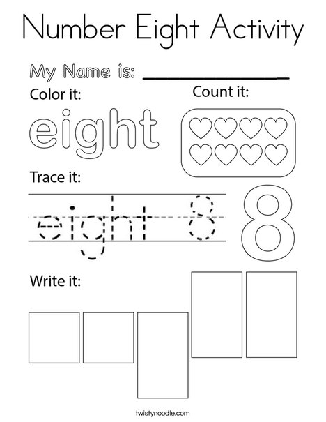 Number Eight Activity Coloring Page