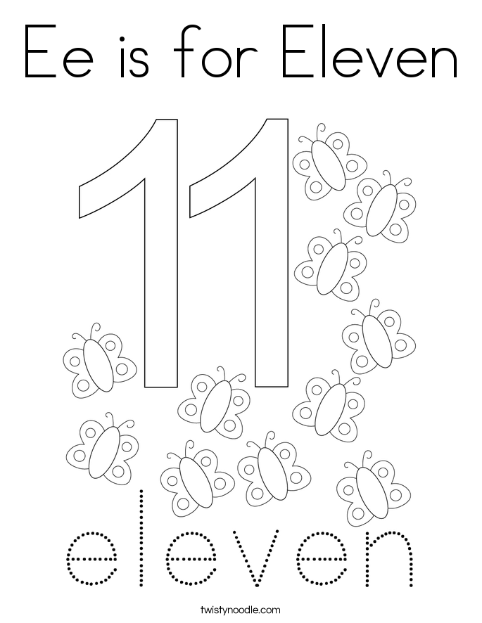 Ee is for Eleven Coloring Page