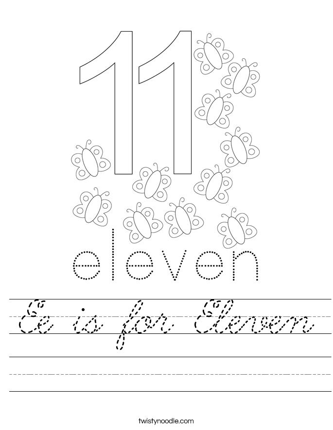 Ee is for Eleven Worksheet