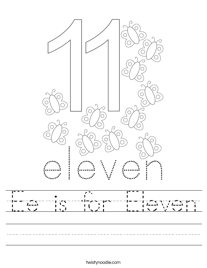 Ee is for Eleven Worksheet