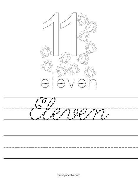 Number Eleven Worksheet