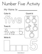 Number Five Activity Coloring Page