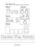 Number Five Activity Handwriting Sheet