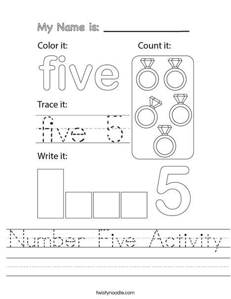 Number Five Activity Worksheet