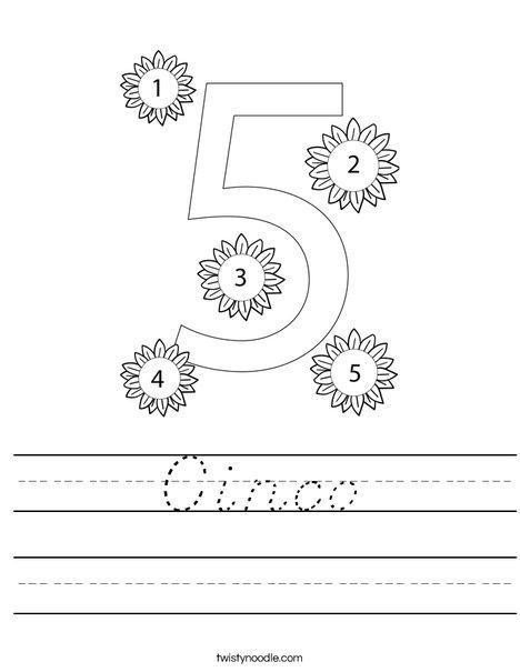 Number Five Worksheet