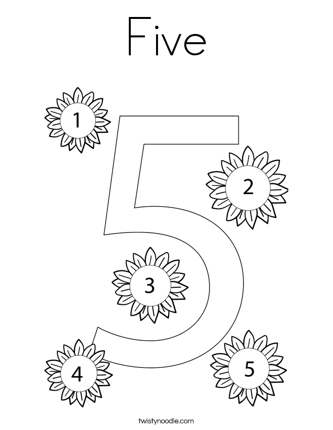 Number 5 Coloring Pages 7 Com Coloring Page - Free Numbers ...