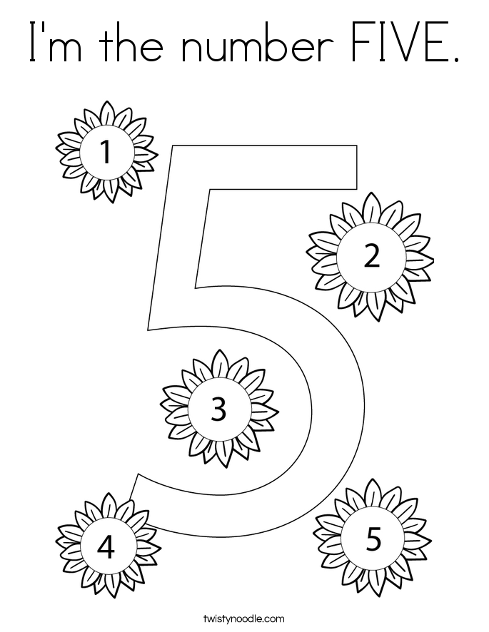 I'm the number FIVE. Coloring Page