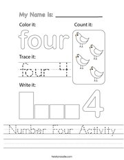 Number Four Activity Handwriting Sheet