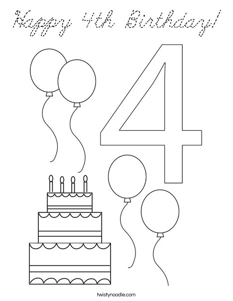 Number Four Coloring Page