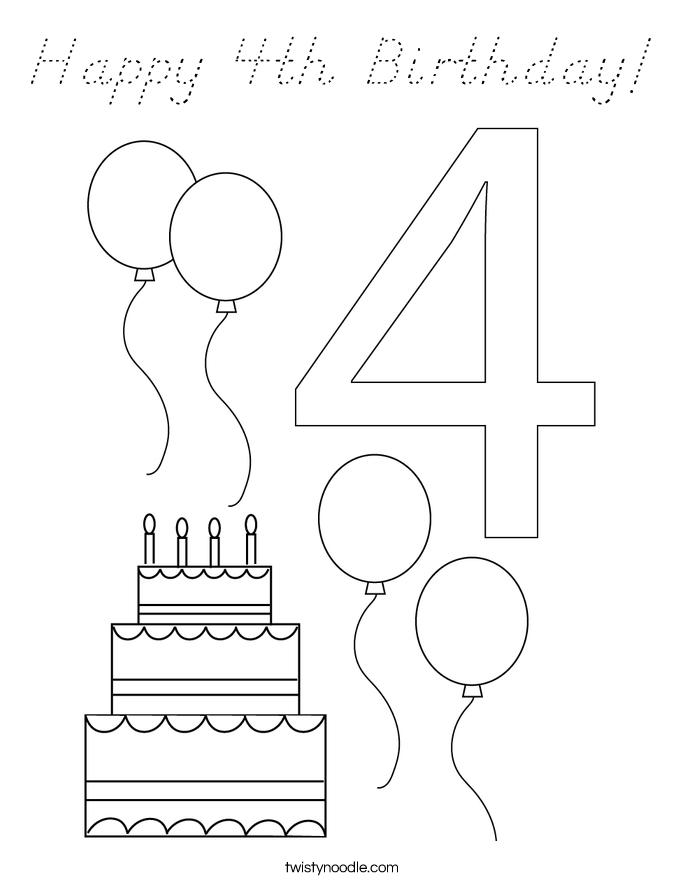 Happy 4th Birthday! Coloring Page
