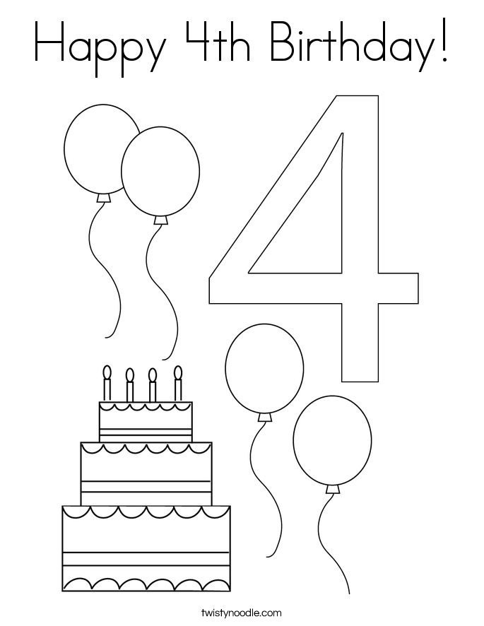Happy 4th Birthday Coloring Page - Twisty Noodle