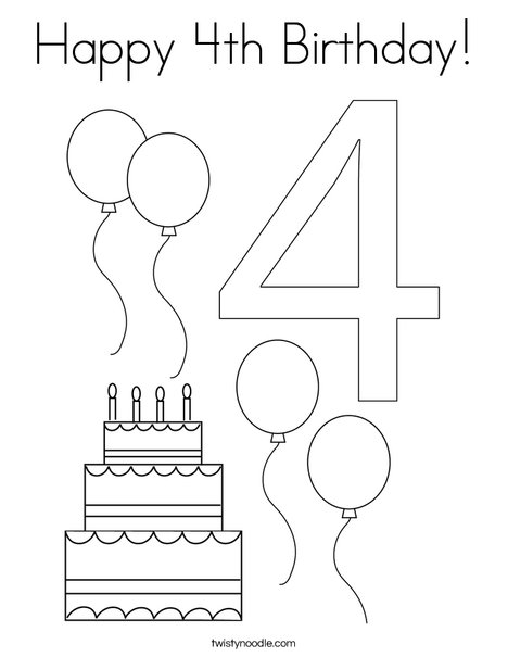 - Happy 4th Birthday Coloring Page - Twisty Noodle