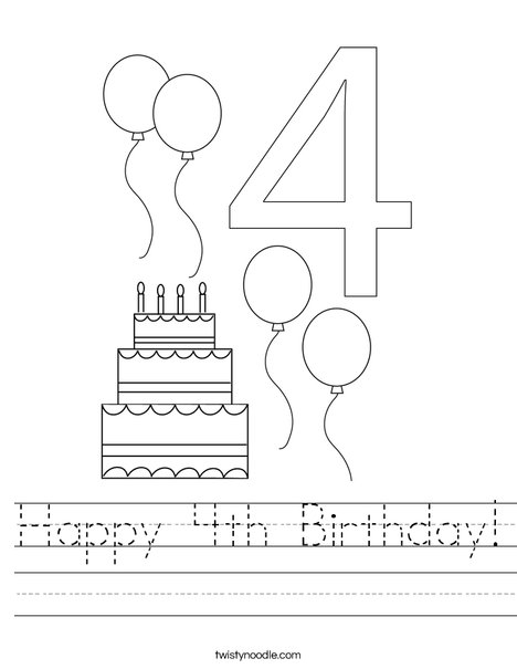 happy 4th birthday worksheet twisty noodle. Black Bedroom Furniture Sets. Home Design Ideas