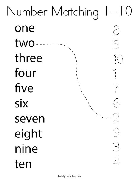 Number Matching 1-10 Coloring Page