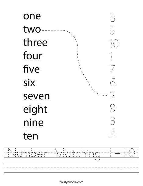 Number Matching 1-10 Worksheet