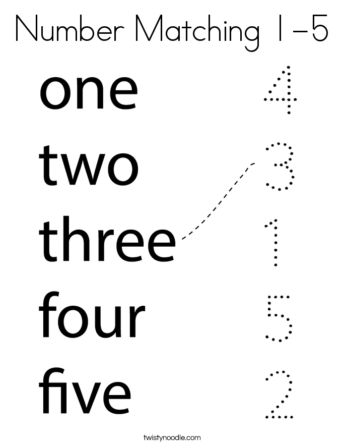 Number Matching 1-5 Coloring Page
