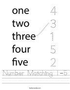 Number Matching 1-5 Handwriting Sheet