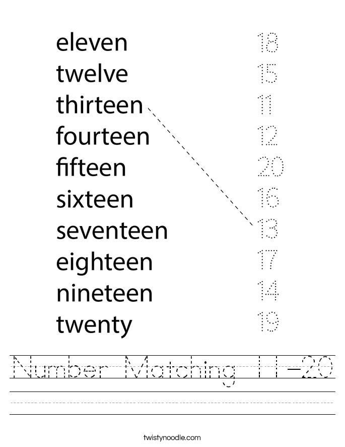 Number Matching 11-20 Worksheet