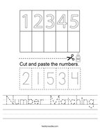 Number Matching Handwriting Sheet
