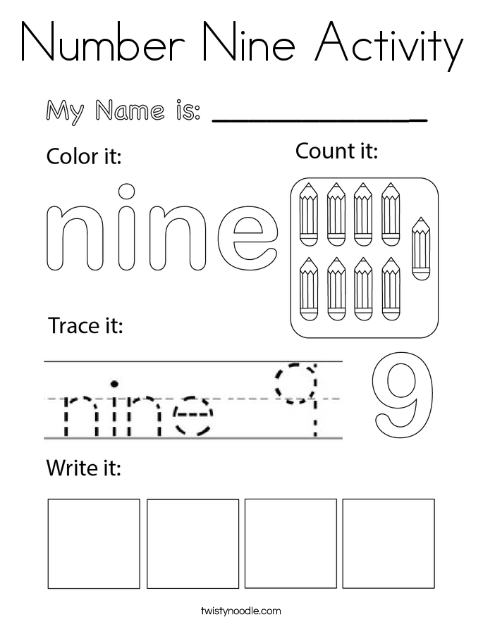 Number Nine Activity Coloring Page