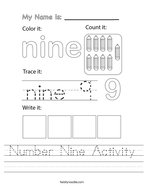 Number Nine Activity Handwriting Sheet