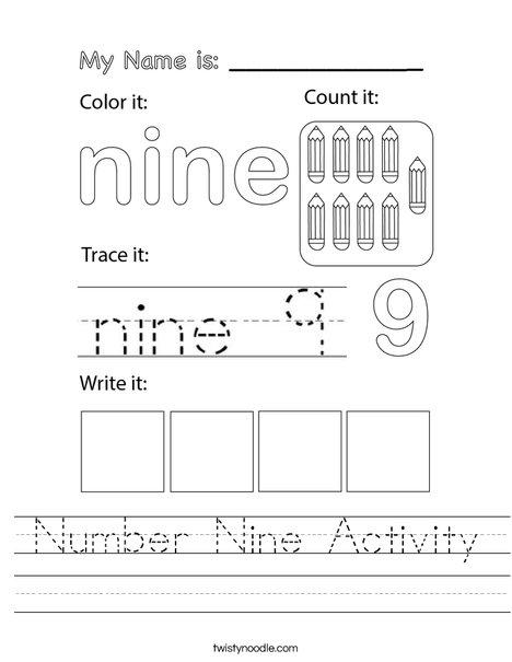 Number Nine Activity Worksheet