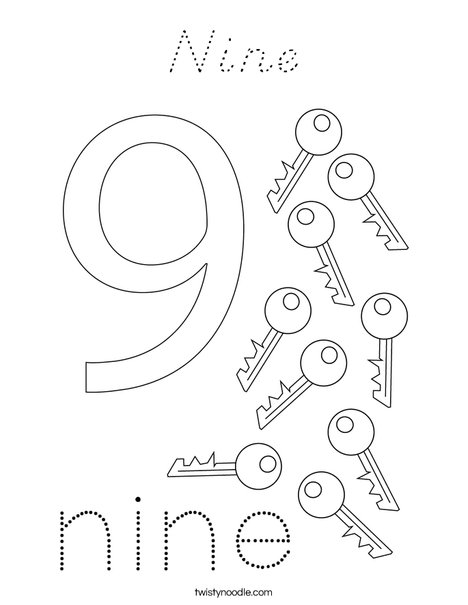 Number Nine Coloring Page
