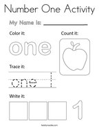 Number One Activity Coloring Page
