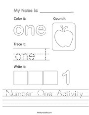 Number One Activity Handwriting Sheet