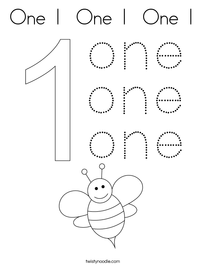 One 1 Coloring Page