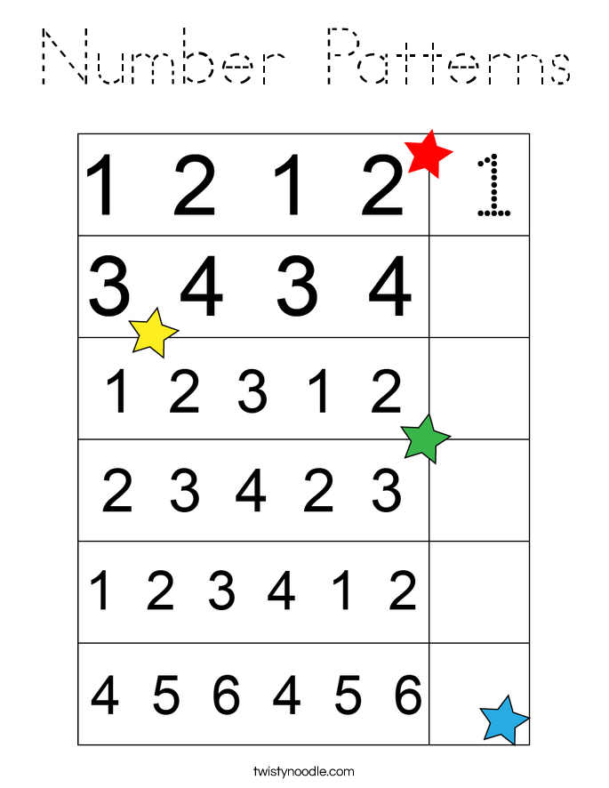 Number Patterns Coloring Page