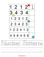 Number Patterns Handwriting Sheet