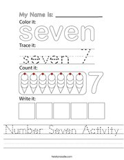 Number Seven Activity Handwriting Sheet
