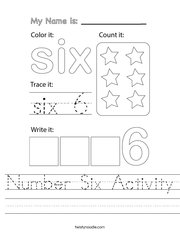 Number Six Activity Handwriting Sheet