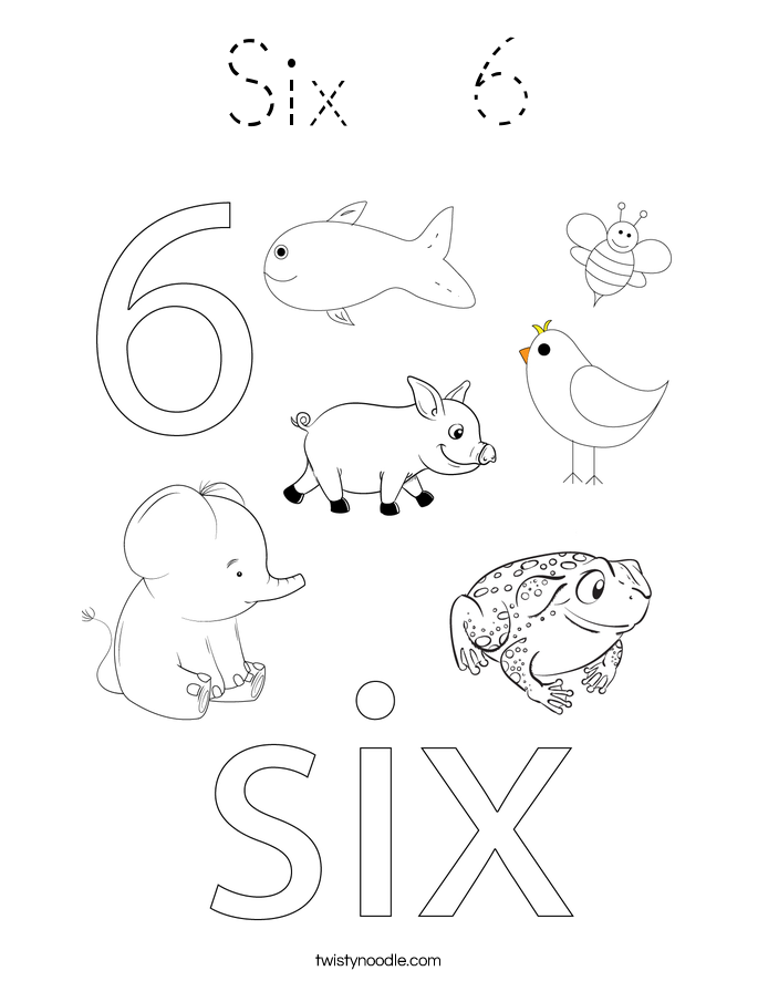 Six 6 Coloring Page Tracing