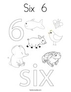 Six  6 Coloring Page