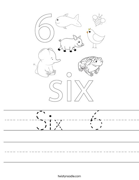 Six 6 Worksheet - Twisty Noodle