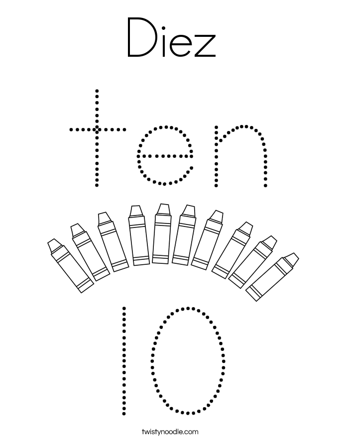 Diez Coloring Page
