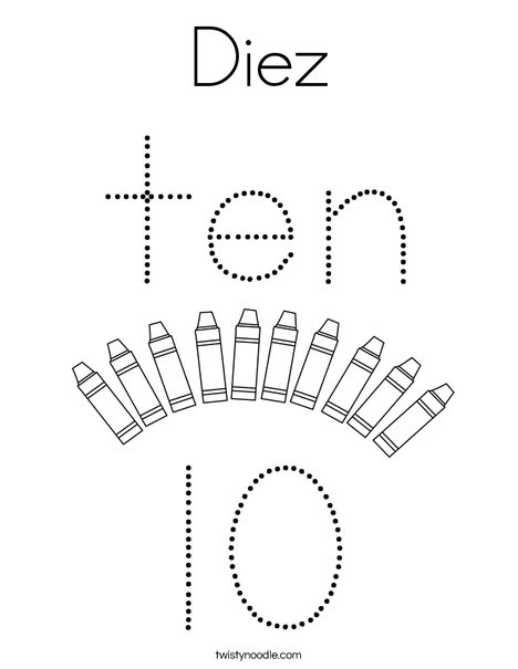 Number Ten Coloring Page